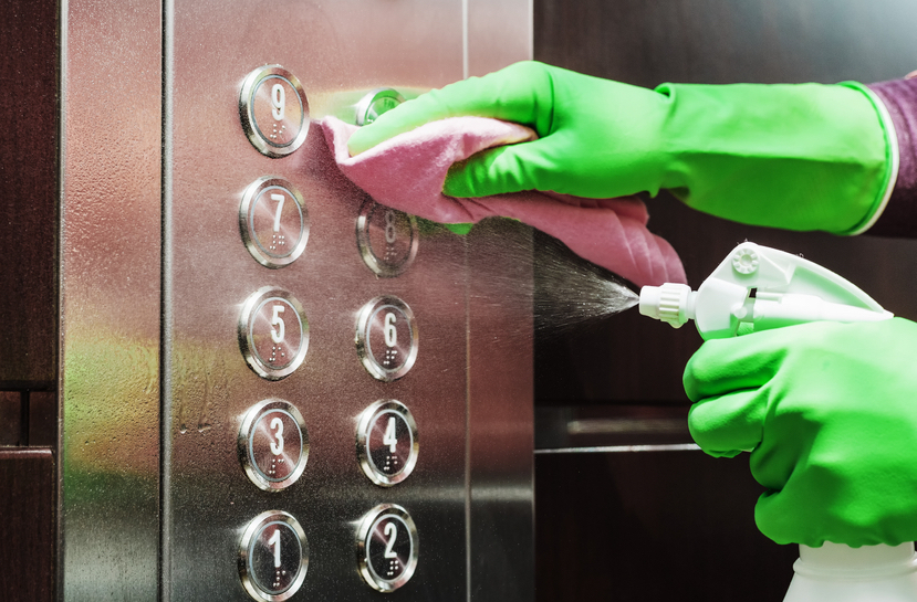 cleaning elevator buttons